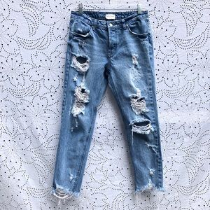 Vestique Distressed Skinny Jeans Holes Frayed